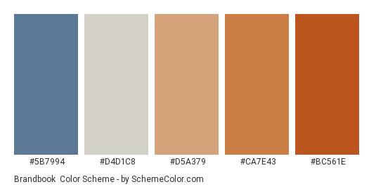 Brandbook - Color scheme palette thumbnail - #5b7994 #d4d1c8 #d5a379 #ca7e43 #bc561e