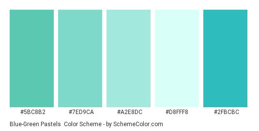 Blue-Green Pastels - Color scheme palette thumbnail - #5bc8b2 #7ed9ca #a2e8dc #d8fff8 #2fbcbc