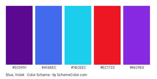 Blue, Violet & Red - Color scheme palette thumbnail - #5c0991 #416bec #1bceec #ec1723 #8629e0