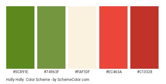 Holly Holly - Color scheme palette thumbnail - #5c891e #74963f #faf1df #ec463a #c13328