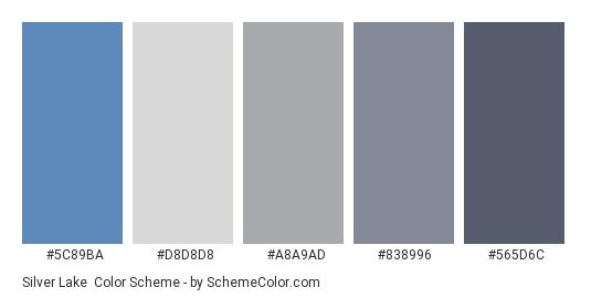 Silver Lake - Color scheme palette thumbnail - #5c89ba #d8d8d8 #a8a9ad #838996 #565d6c