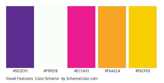 Diwali Festoons - Color scheme palette thumbnail - #5d2e91 #f9fef8 #ec1a91 #f6a624 #f8cf05
