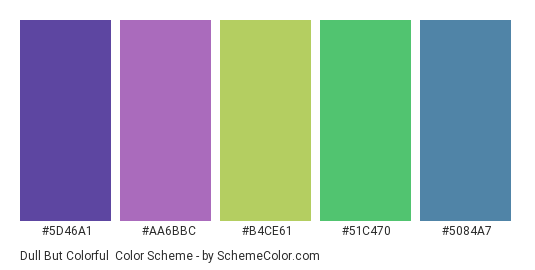 Dull But Colorful - Color scheme palette thumbnail - #5d46a1 #aa6bbc #b4ce61 #51c470 #5084a7