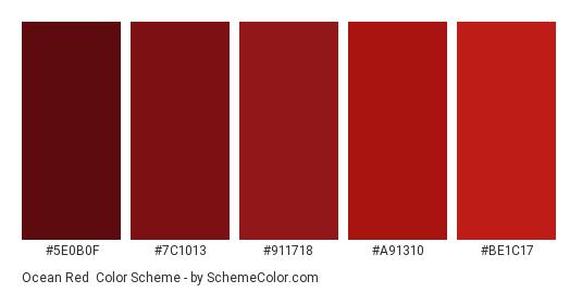 Ocean Red - Color scheme palette thumbnail - #5e0b0f #7c1013 #911718 #a91310 #be1c17