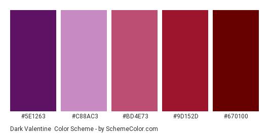 Dark Valentine - Color scheme palette thumbnail - #5e1263 #c88ac3 #bd4e73 #9d152d #670100