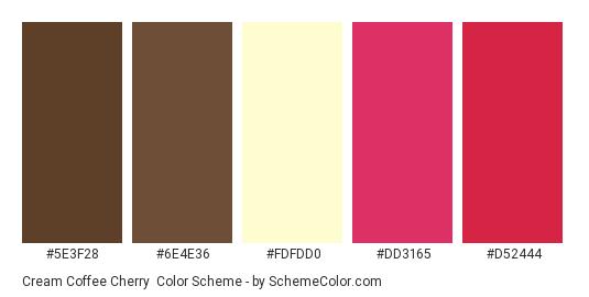 Cream Coffee Cherry - Color scheme palette thumbnail - #5e3f28 #6e4e36 #fdfdd0 #dd3165 #d52444
