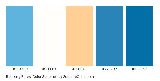 Relaxing Blues Color Scheme Palette Thumbnail 5eb4dd Fffefb Ffcf96 2984b7