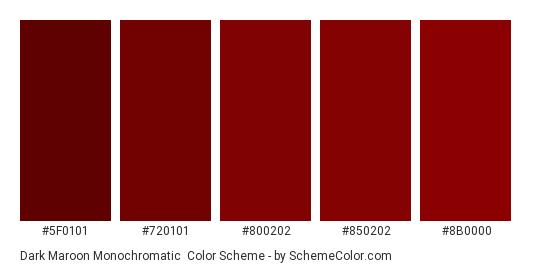 Dark Maroon Monochromatic - Color scheme palette thumbnail - #5f0101 #720101 #800202 #850202 #8b0000