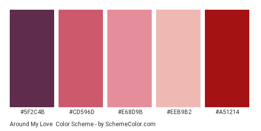 Around my Love - Color scheme palette thumbnail - #5f2c4b #cd596d #e68d9b #eeb9b2 #a51214