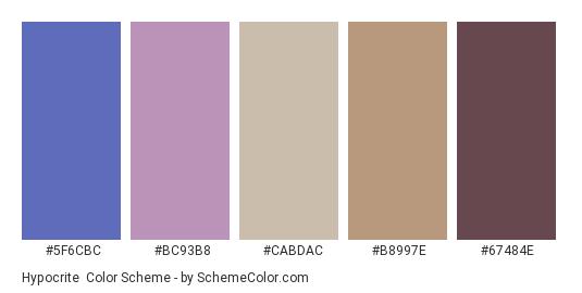 Hypocrite - Color scheme palette thumbnail - #5f6cbc #bc93b8 #cabdac #b8997e #67484e