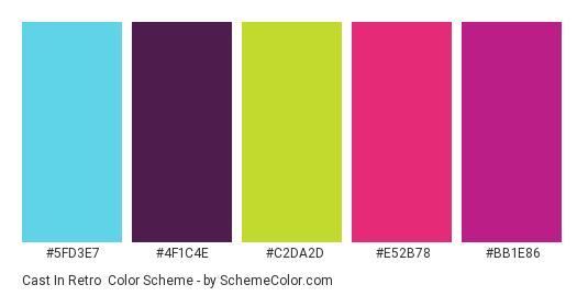 Cast in Retro - Color scheme palette thumbnail - #5fd3e7 #4f1c4e #c2da2d #e52b78 #bb1e86