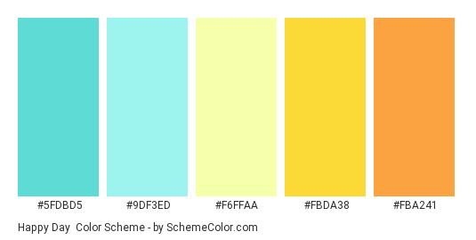 Happy Day - Color scheme palette thumbnail - #5fdbd5 #9DF3ED #F6FFAA #FBDA38 #FBA241