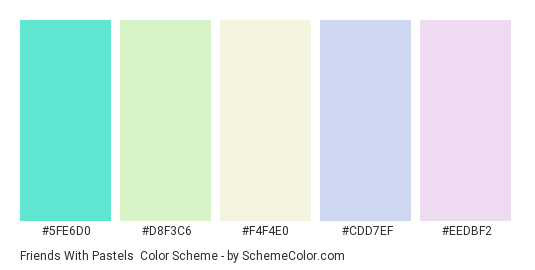 Friends with Pastels - Color scheme palette thumbnail - #5fe6d0 #d8f3c6 #f4f4e0 #cdd7ef #eedbf2