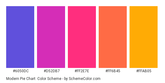 Modern Pie Chart - Color scheme palette thumbnail - #6050DC #D52DB7 #FF2E7E #FF6B45 #FFAB05