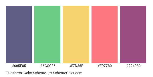 Tuesdays - Color scheme palette thumbnail - #605E85 #6CCC86 #F7D36F #FD7780 #994D80