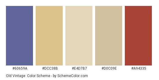 Old Vintage - Color scheme palette thumbnail - #60659a #DCC38B #E4D7B7 #D0C09E #A94335