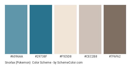 Snorlax (Pokemon) - Color scheme palette thumbnail - #6096AA #29738F #F1E5D8 #CEC2B8 #7F6F62