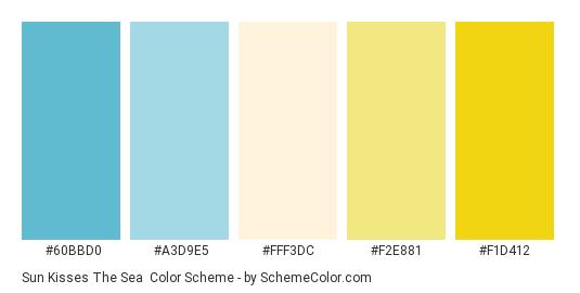 Sun Kisses the Sea - Color scheme palette thumbnail - #60BBD0 #A3D9E5 #fff3dc #f2e881 #f1d412