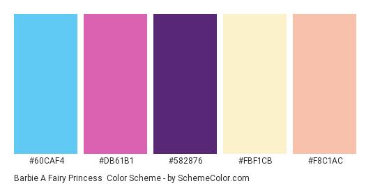Barbie a Fairy Princess - Color scheme palette thumbnail - #60caf4 #db61b1 #582876 #fbf1cb #f8c1ac