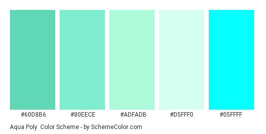 Aqua Poly - Color scheme palette thumbnail - #60d8b6 #80eece #adfadb #d5fff0 #05ffff