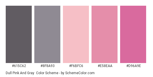 Dull Pink and Gray - Color scheme palette thumbnail - #615c62 #8f8a93 #f6bfc6 #e58eaa #d96a9e
