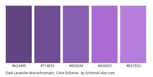 Dark Lavender Monochromatic - Color scheme palette thumbnail - #624480 #714E93 #865DAF #A96DD1 #B57EDC