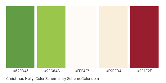 Christmas Holly - Color scheme palette thumbnail - #629d45 #99c64b #fefaf6 #f9eeda #981e2f