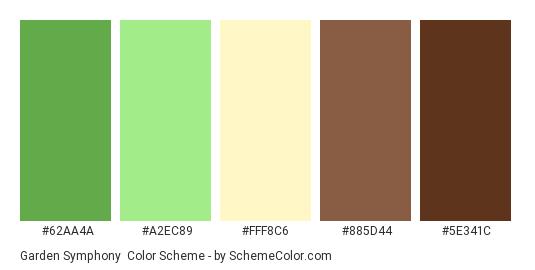 Garden Symphony - Color scheme palette thumbnail - #62AA4A #A2EC89 #FFF8C6 #885D44 #5E341C