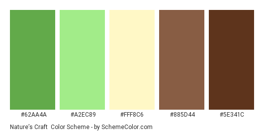 Nature's Craft - Color scheme palette thumbnail - #62AA4A #A2EC89 #FFF8C6 #885D44 #5E341C