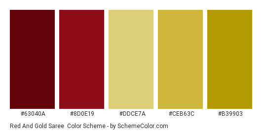 Red and Gold Saree - Color scheme palette thumbnail - #63040a #8d0e19 #ddce7a #ceb63c #b39903
