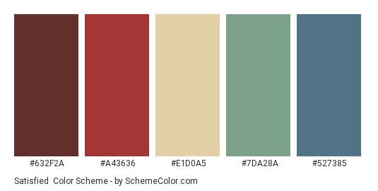 Satisfied - Color scheme palette thumbnail - #632f2a #a43636 #e1d0a5 #7da28a #527385