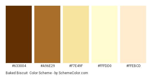 Baked Biscuit - Color scheme palette thumbnail - #633004 #A96E29 #F7E49F #FFFDD0 #FFEBCD