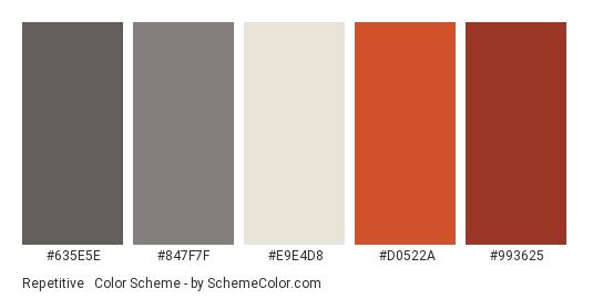 Repetitive & Boring - Color scheme palette thumbnail - #635E5E #847F7F #E9E4D8 #D0522A #993625