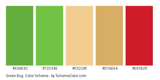 Green Bug - Color scheme palette thumbnail - #63ae3c #72c345 #f2cc8f #d7ae64 #d01b29