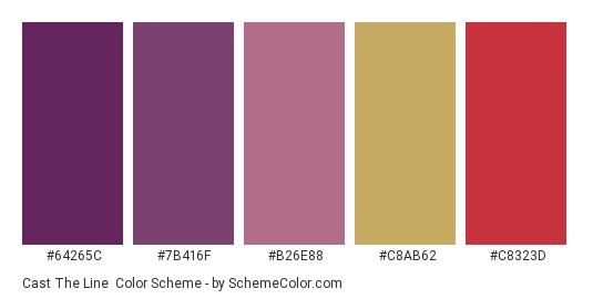 Cast the Line - Color scheme palette thumbnail - #64265c #7b416f #b26e88 #c8ab62 #c8323d