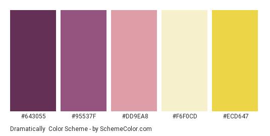 Dramatically - Color scheme palette thumbnail - #643055 #95537F #DD9EA8 #F6F0CD #ECD647