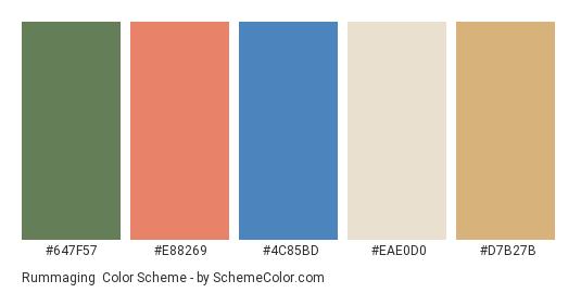 Rummaging - Color scheme palette thumbnail - #647f57 #e88269 #4c85bd #eae0d0 #d7b27b