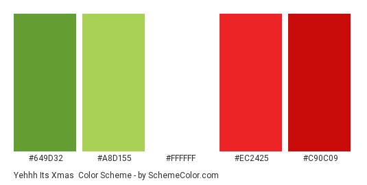 Yehhh Its Xmas - Color scheme palette thumbnail - #649d32 #a8d155 #ffffff #ec2425 #c90c09
