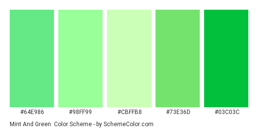 Mint and Green - Color scheme palette thumbnail - #64E986 #98FF99 #CBFFB8 #73E36D #03C03C