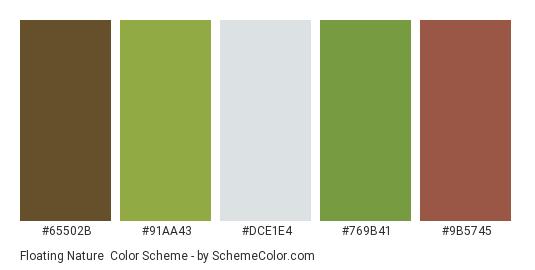 Floating Nature - Color scheme palette thumbnail - #65502b #91aa43 #DCE1E4 #769b41 #9b5745