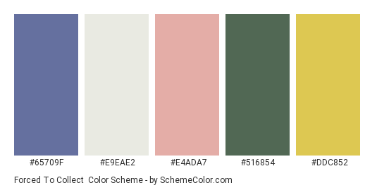 Forced to Collect - Color scheme palette thumbnail - #65709F #E9EAE2 #E4ADA7 #516854 #DDC852
