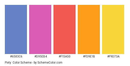 Pixty - Color scheme palette thumbnail - #6583c6 #d95eb4 #f15a50 #fd9e1b #f9d73a