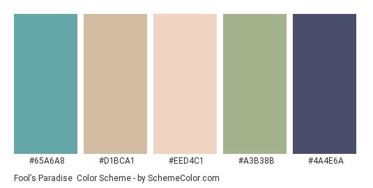Fool's Paradise - Color scheme palette thumbnail - #65a6a8 #d1bca1 #eed4c1 #a3b38b #4a4e6a
