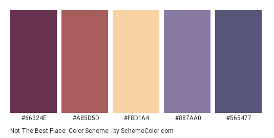 Not the Best Place - Color scheme palette thumbnail - #66324E #A85D5D #F8D1A4 #887AA0 #565477