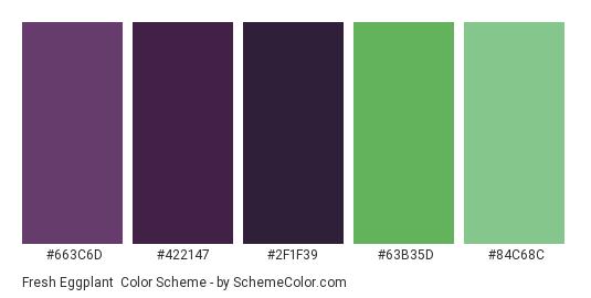 Fresh Eggplant - Color scheme palette thumbnail - #663C6D #422147 #2F1F39 #63B35D #84C68C