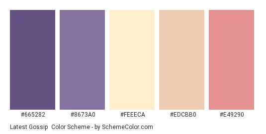 Latest Gossip - Color scheme palette thumbnail - #665282 #8673a0 #feeeca #edcbb0 #e49290
