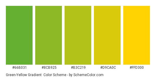 Green-Yellow Gradient - Color scheme palette thumbnail - #66B031 #8CB925 #B3C219 #D9CA0C #FFD300