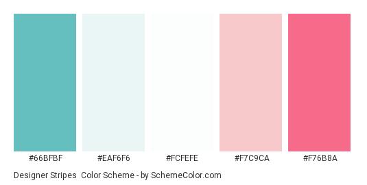 Designer Stripes - Color scheme palette thumbnail - #66BFBF #EAF6F6 #FCFEFE #F7C9CA #F76B8A