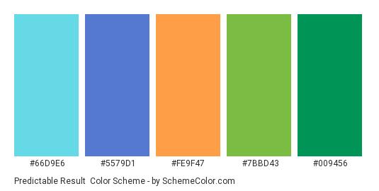 Predictable Result - Color scheme palette thumbnail - #66D9E6 #5579D1 #FE9F47 #7BBD43 #009456