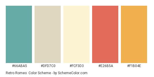 Retro Romeo - Color scheme palette thumbnail - #66aba5 #dfd7c0 #fcf3d3 #e26b5a #f1b04e